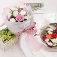 프렌치 비누 장미 꽃다발 50cm P5 FMBBFT 조화 졸업식 꽃