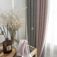 벨라 핑크+그레이 투톤암막커튼(방한,방풍,단열,사계절 커튼)