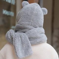 데일리 겨울 방한 양털 퍼 여자 후드머플러