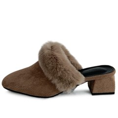 kami et muse Real fur trimming middle heel blofers_KM19w254