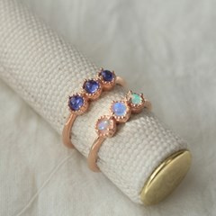 오팔&탄자나이트 3 로즈 반지(2type)(10월탄생석)