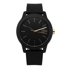 라코스테 2011010 12.12 남성용 블랙 실리콘 시계 42mm_(1286932)