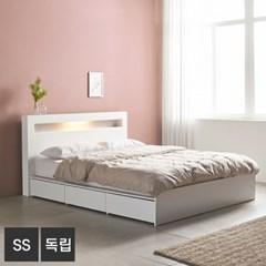 AND 화이트 머스크 LED조명 SS 서랍침대+독립매트 DM7009