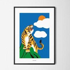 호랑이 기운 M 유니크 인테리어 디자인 포스터 동물
