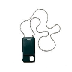 FENNEC LEATHER iPHONE 11 STRAP POCKET CASE - MOSS GREEN