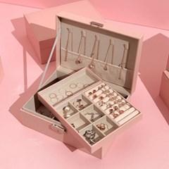 [텐바이텐 단독] 악세사리 귀걸이 2단 보관함 디어 핑크 박스