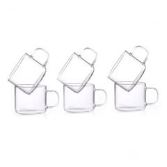 [로하티]로젤 유리 찻잔 6p(80ml)/손잡이 유리잔 세트