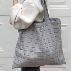 slowstitch vintage blue check bag