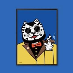 호랑이 담배 피우던 시절 (White) - 민화 일러스트 포스터 액자