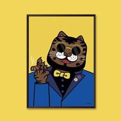 호랑이 담배 피우던 시절 (Black) - 민화 일러스트 포스터 액자