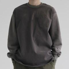 피치 콤비 라운드넥 기모 맨투맨 티셔츠 긴팔 남자 커플