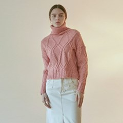 CABLE CROP TURTLE KNIT_PINK