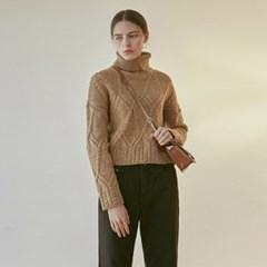 CABLE CROP TURTLE KNIT_CAMEL