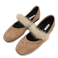 kami et muse Long fur top strap suede flat_KM19w270