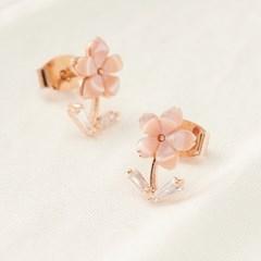 핑크 자개 꽃송이 귀걸이