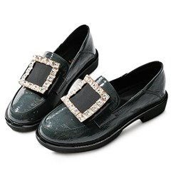 kami et muse Cubic square pendent enamel loafers_KM19w276