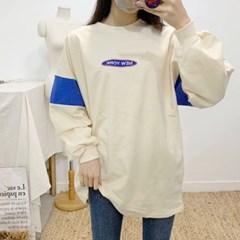 마쉬옐로우 뉴뉴욕 레터링 배색 라운드 롱 티셔츠