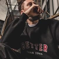 [베러댄88] 몬태나 오버핏 675g 워싱 헤비원단 맨투맨 밴타블랙