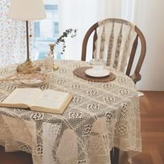 까르다 뜨개질 짜임 내츄럴 아이보리 식탁보 테이블보