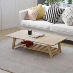 [리코베로]에코 모던 고무나무 원목 선반형 접이식테이블 1200