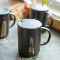 골드그림뚜껑머그(패턴선택) / 카페 도자기 머그 컵 잔 선물용