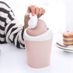 라이프 미니 휴지통(핑크) / 스윙형 화장대휴지통