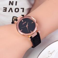틴아라 여성 손목시계(블랙) /패션시계 가죽손목시계