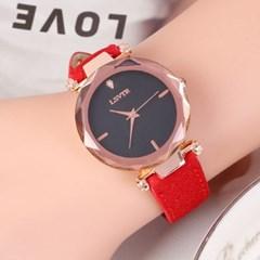 틴아라 여성 손목시계(레드) /패션시계 가죽손목시계