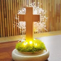 [숲앤숨] LED 원목 십자가 탁상 기도등 - 프리저브드 나만의레터링