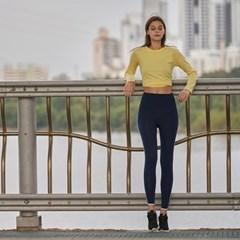 여성 요가복 DEVI-B0026-네이비 필라테스 레깅스 9부 배색라인팬츠