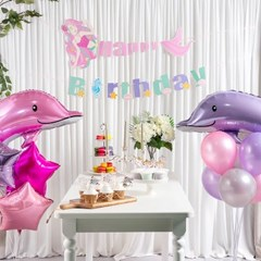 생일파티 풍선+가랜드 장식세트 [해피벌스데이 인어공주_(11938911)