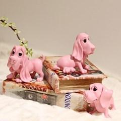 핑크 강아지장식품 3P세트 인테리어소품 선반장식 귀여운 개장식품