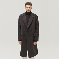 TAILORED WOOL DOUBLE LONG COAT_BLACK