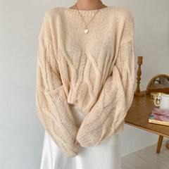 펀칭 루즈핏 보트넥니트 - knit(2609342)_(1553144)