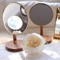 탁상형 원목 우드 골드프레임 거울