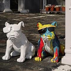 선글라스불독 조각상 강아지 장식품