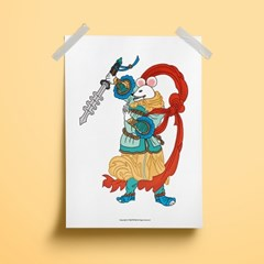 십이지 하얀 쥐 수호신 - 민화 일러스트 포스터 액자