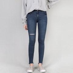 여성 무릎 컷팅 밑단 찢 구제 슬림 스키니진 청바지