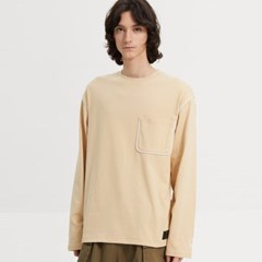 PIPING ONE POCKET LONG SLV TEE_ITS00018_BEIGE