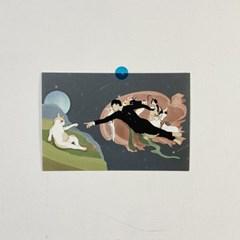 동주와 고양이 천지창조 디자인 엽서