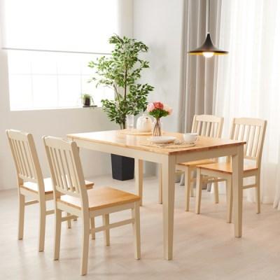 아르메 버니 고무나무 원목 4인 식탁세트(의자4)