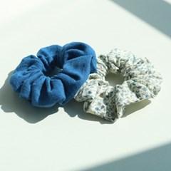 린넨 블루 빈티지 꽃무늬 곱창머리끈 스크런치