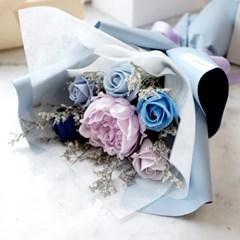 파스텔블루 작약&장미 비누꽃다발