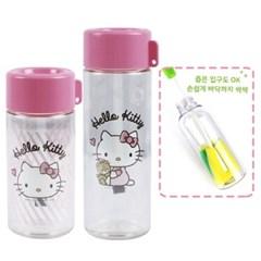헬로키티 플레이 보틀(스마트캡) 2종세트+스펀지 병솔(일자형)