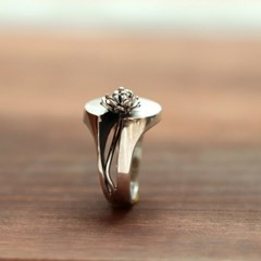 [normaldott] Water lily silver ring | none gemstone