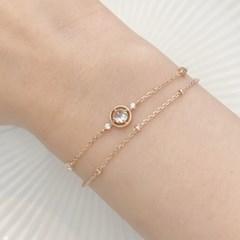 [레모닝] 라운드 로즈컷 탄생석 팔찌 4월 다이아몬드