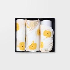 [메르베] 뽀드득파프리카 출산선물세트(저고리+속싸개+모자)