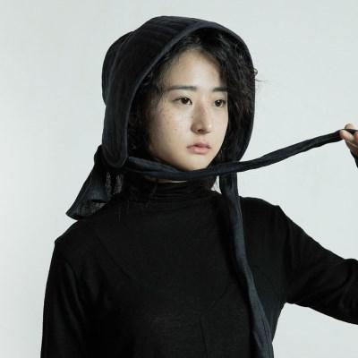 퀼티드 린넨 보넷 : Quilted linen bonnet - Navy