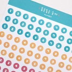 동글동글 숫자 스티커 - KWONI