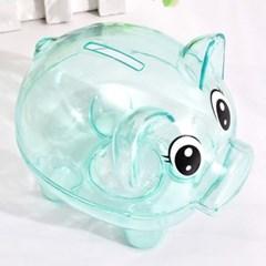 하늘색 투명 돼지저금통/ 용돈저축 동전저금통